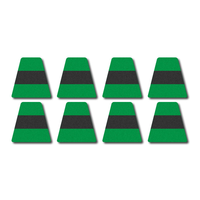 Tetrahedron Set - Green w/ Black Stripe