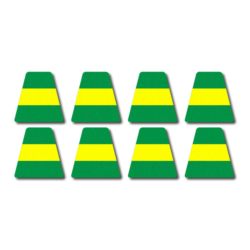 Tetrahedron Set - Green w/ Yellow Stripe