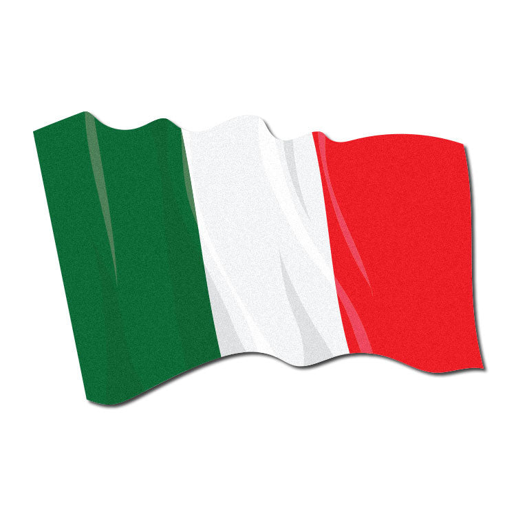 Reflective Waving Italian Flag Decal