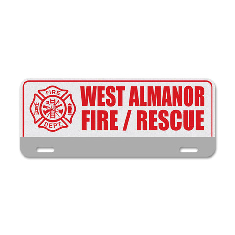 Custom Reflective Fire & EMS License Plate Topper - Three Lines With Stripe