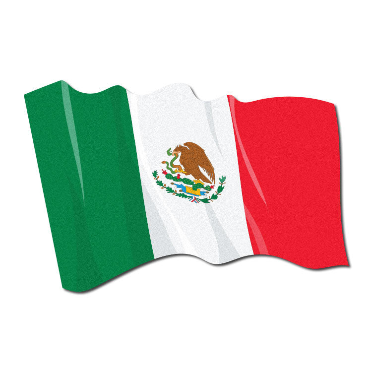 Reflective Waving Mexican Flag Decal