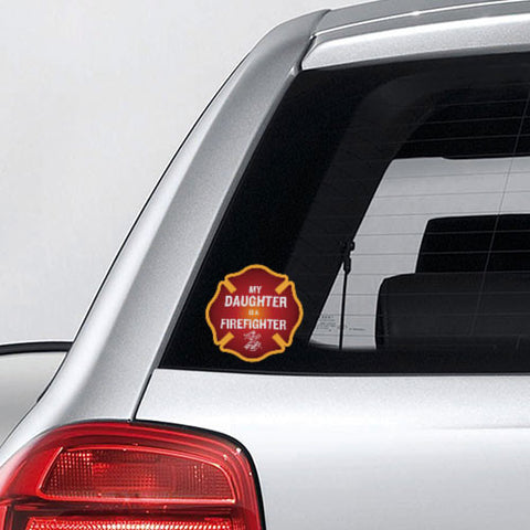 My Daughter is a Firefighter Maltese Cross Decal - 4""