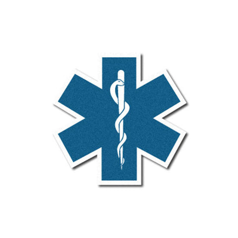 White Star of Life Reflective Decal - 2""
