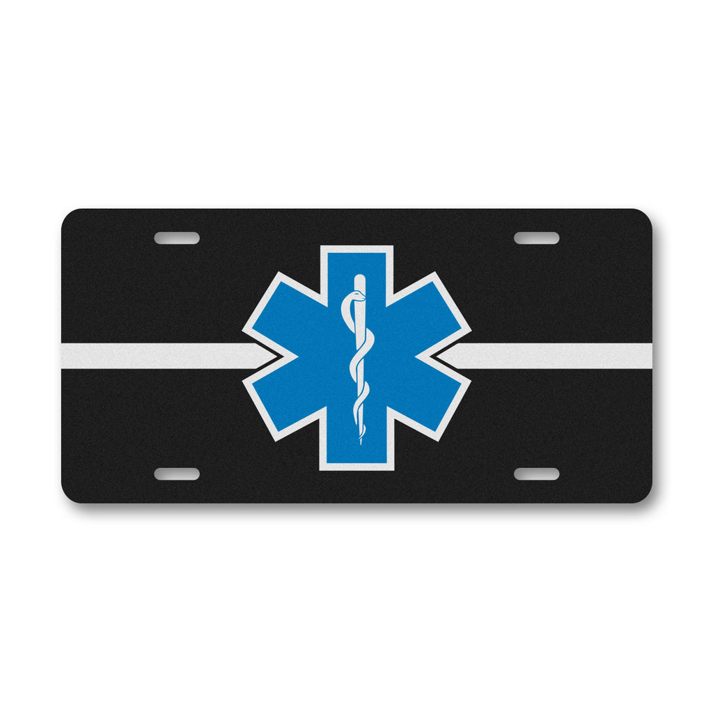 Reflective EMS License Plate - Star Of Life Thin White Line