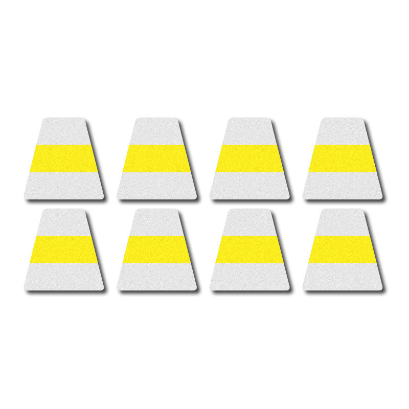 Tetrahedron Set - White w/ Yellow Stripe