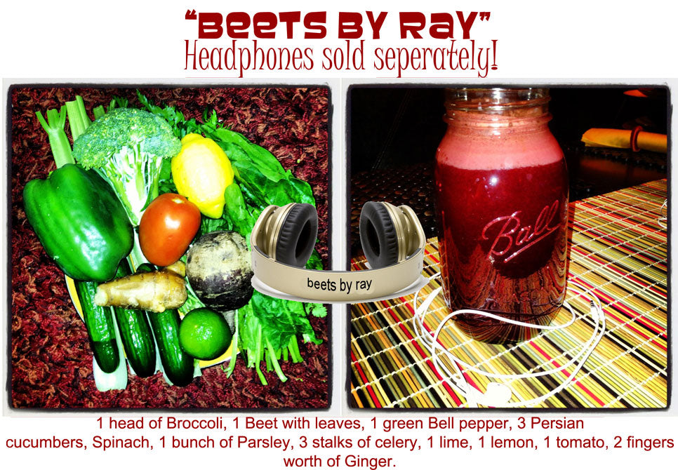 EverydayJuicer.com Recipe - 1 head of Broccoli, 1 Beet with leaves, 1 green Bell pepper, 3 Persian cucumbers, Spinach, 1 bunch of Parsley, 3 stalks of celery, 1 lime, 1 lemon, 1 tomato, 2 fingers worth of Ginger.