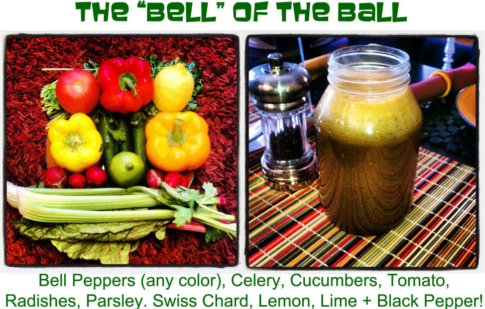 EverydayJuicer.com Recipe - Bell Peppers (any color), Celery, Cucumbers, Tomato,  Radishes, Parsley. Swiss Chard, Lemon, Lime + Black Pepper!