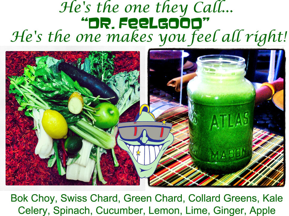 EverydayJuicer Recipe - Bok Choy, Swiss Chard, Green Chard, Collard Greens, Kale Celery, Spinach, Cucumber, Lemon, Lime, Ginger, Apple