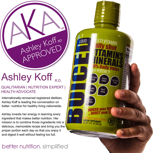 BUICED Liquid Multivitamin is now Ashley Koff Approved by Ashley Koff RD.