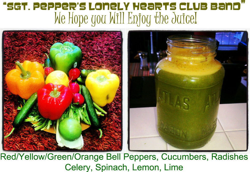 EverydayJuicer.com Recipe - Red/Yellow/Green/Orange Bell Peppers, Cucumbers, Radishes Celery, Spinach, Lemon, Lime