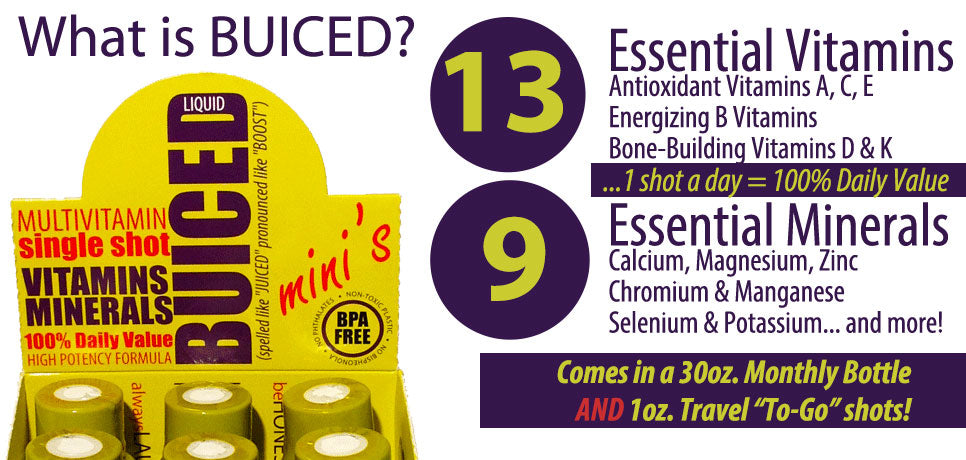 What is BUICED Liquid Multivitamin and does it have 100% daily value of all vitamins