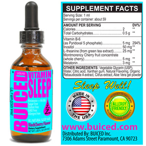 Vitamin Sleep - 1 Bottle - Buiced All Natural Sleep Aid | Melatonin and Vitamin B6 | Non groggy Non Addicting Formula | Made in USA
