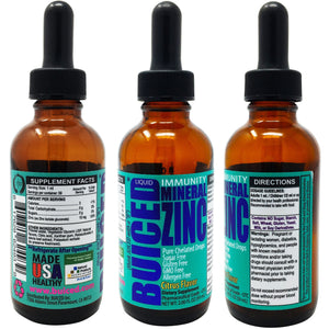 Zinc Liquid Drops - 1 Bottle - Buiced Liquid Mineral Chelated Zinc | Gluten Free | GMO Free | Made in USA | Citrus Flavor
