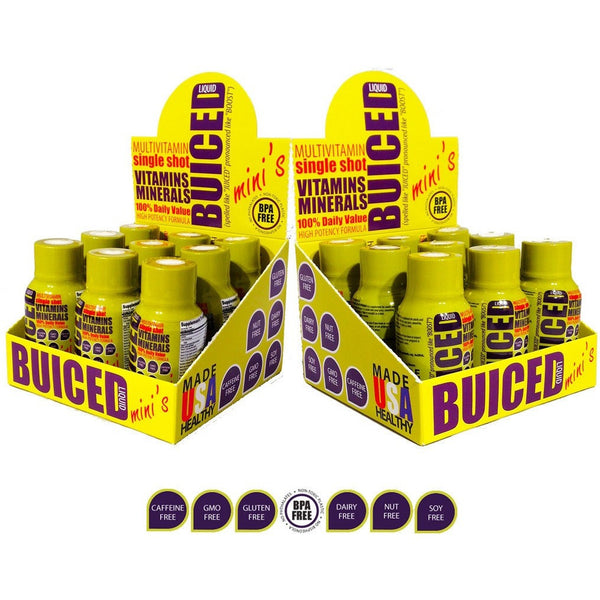 BUICED - 18 Daily Travel Bottles - Buiced Liquid Multivitamin | Gluten Free Vitamins | GMO Free Vitamins | Made in USA Vitamins | Best Multivitamin