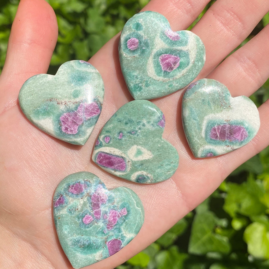 Fuchsite with Ruby Hearts