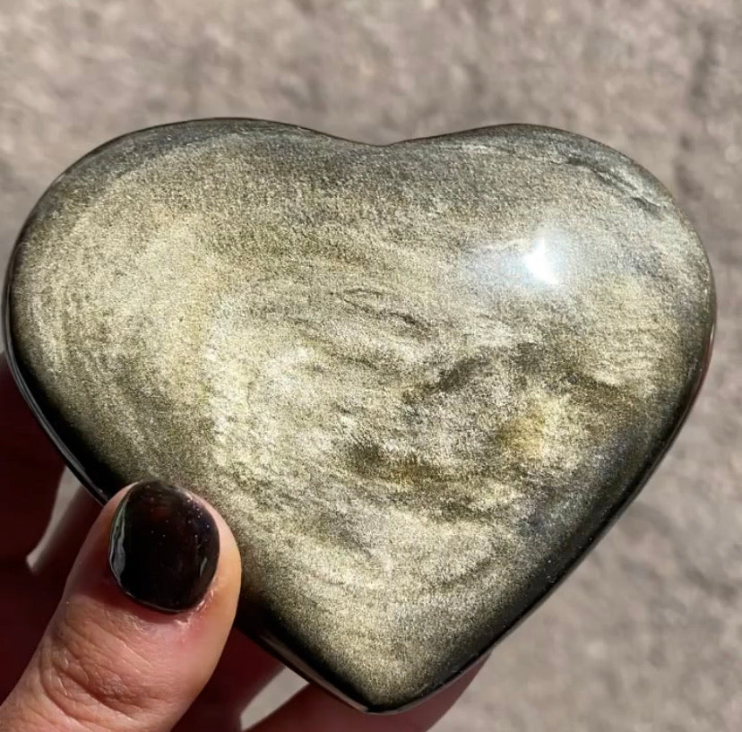 Gold Sheen Obsidian Hearts