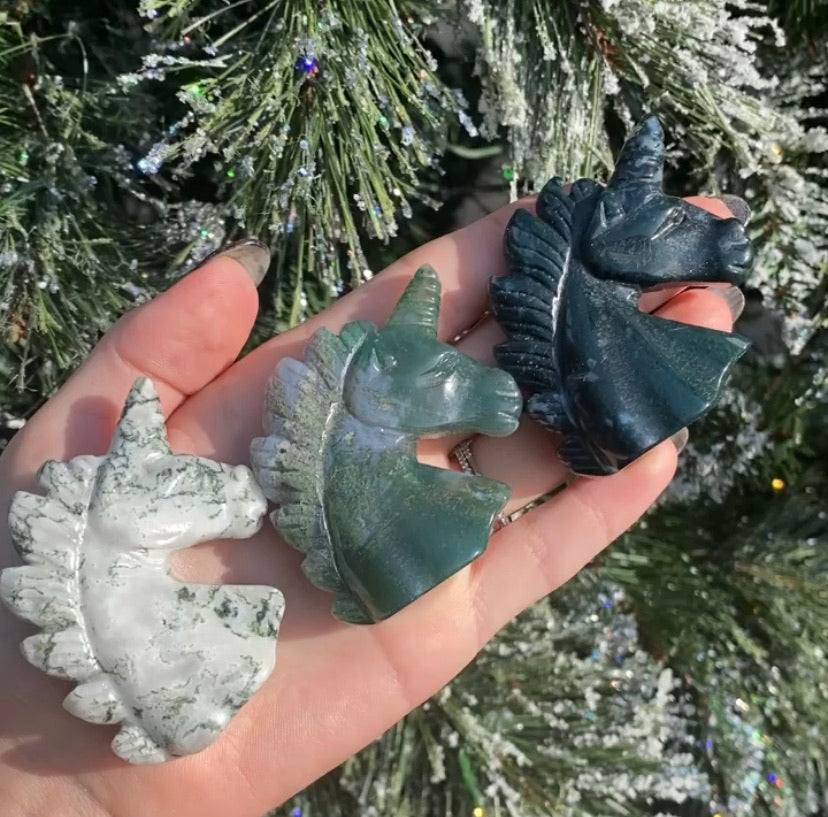 Moss Agate Unicorns
