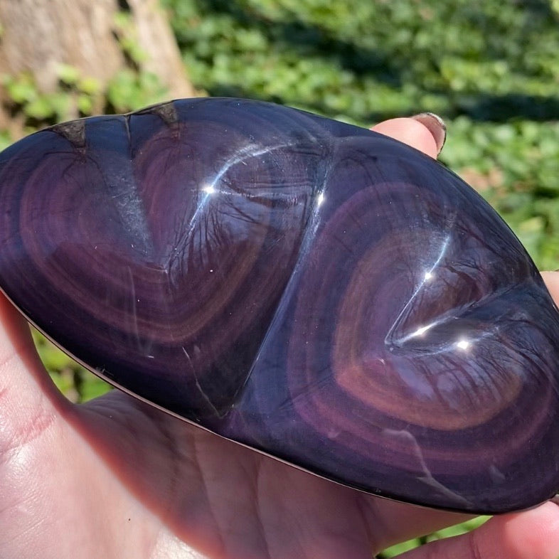Rainbow Obsidian Twin Hearts