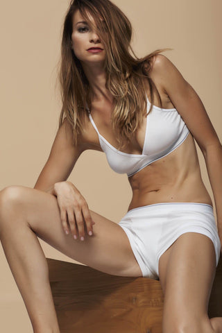 The Buckingham Bra / White / 2 x 1 Rib