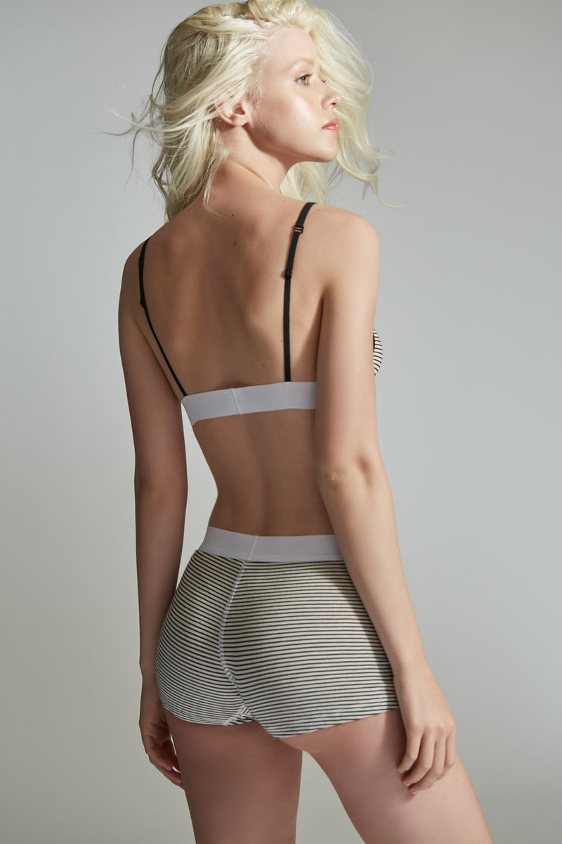 The Paradise Cove Bra 2 / Black and White / Jersey Stripe White Band