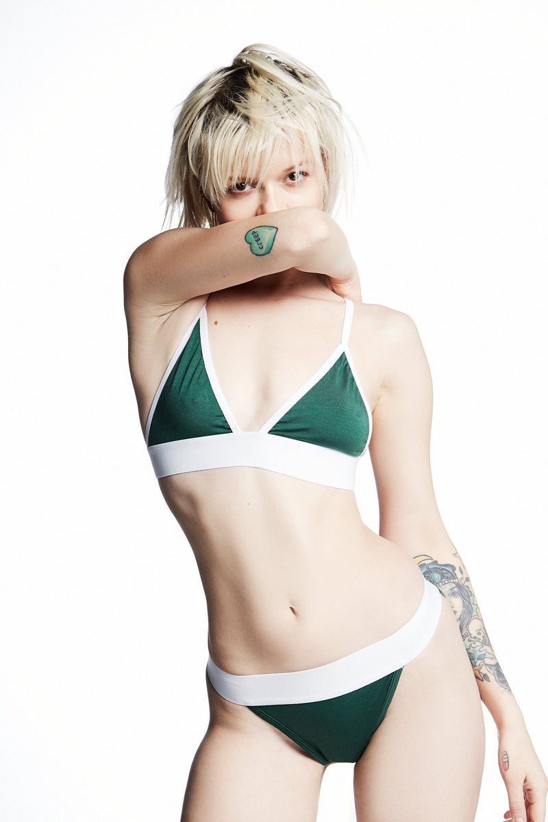 Paradise Cove Bra 2 / British Racing Green / Supima Jersey