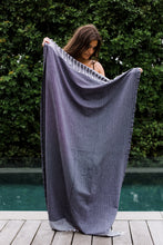 Charcoal Stripe Turkish Towel