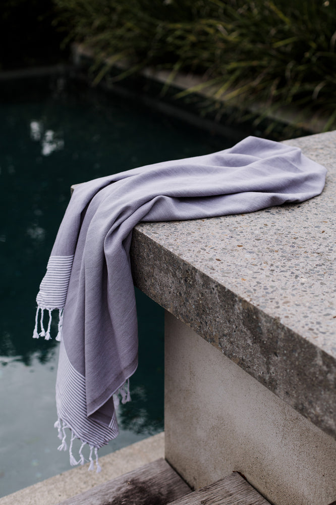 Light Grey Stripe Turkish Towel