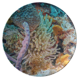 Anemone in Reef Thermosaf© Dinner Plate - Picnic/Boatware - Coral Underwater Photo Dish - Ocean/Nautical Theme- Scuba Diver Gift