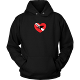 Love Scuba Diving Diver Down Flag Heart Unisex Hoodie - Diver Holiday Gift