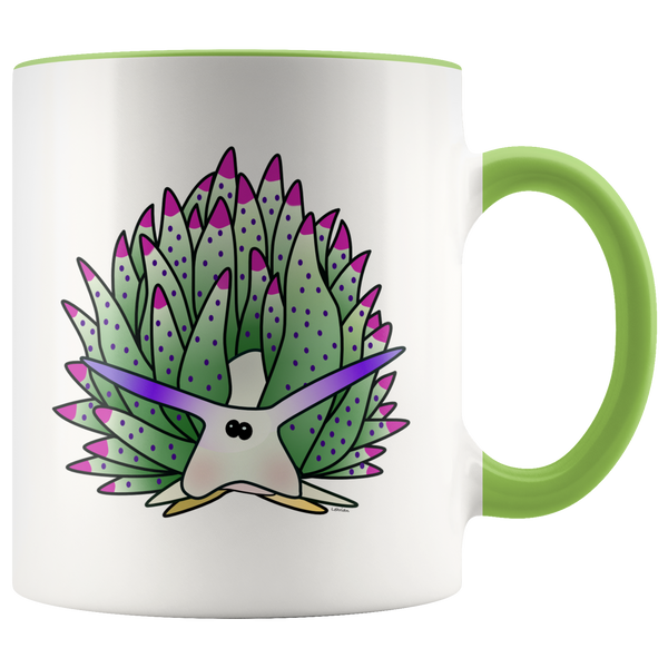 Green Sheep Leaf Nudibranch Cartoon Accent Coffee Mug 11oz