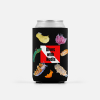 Dives With Nudis Neoprene Can Cooler/Huggie/Drink Insulator - Dive Flag and Nudibranchs Drink Insulator