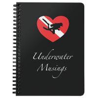 Underwater Musings Spiral Notebook/Journal - Dive Flag Heart with Scuba Diver Silhouette