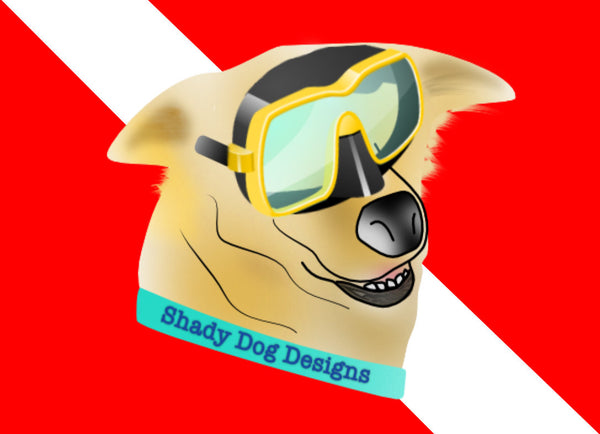 Scuba Dog Dive Flag Sticker  - Diver Down Bumper Sticker