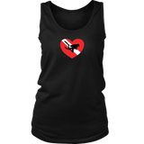 Love Scuba Diving Diver Down Flag Heart Women's Tank Top