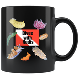 Dives with Nudis Nudibranch 11 oz Black Coffee Mug