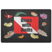 Dives with Nudis Nudibranch & Dive Flag Doormat/Kitchen Floor Mat