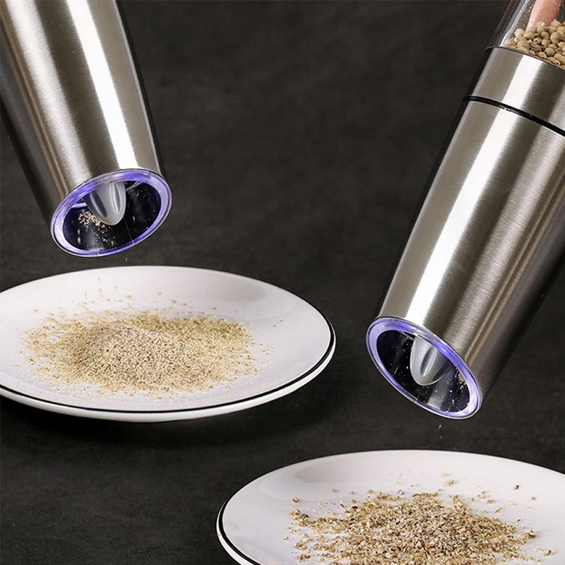 Automatic Electric Pepper and Salt Grinder - LED Light Spice Grinder - Stainless Steel Pepper and Salt Grinder - The Brotherhood shop