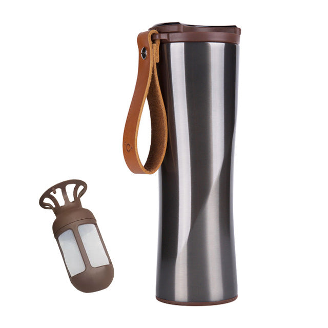 Stainless Steel Coffee Thermo with Temperature Sensor - Travel Brewed Coffee Cup - The Brotherhood shop