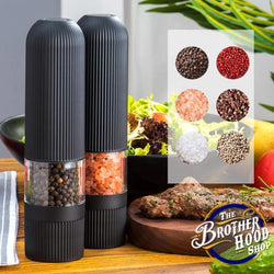 Salt and Pepper Electric Kitchen Spice Grinders - Bright Light Adjustable Shakers Set - Automatic One Hand Mills - The Brotherhood shop