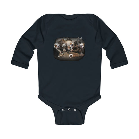 Cuddly Killers | Bulldogs Playing Poker | Infant Long Sleeve Bodysuit