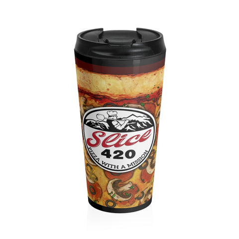 Slice 420 Pizza | Pepperoni, Mushrooms & Olives Logo | Stainless Steel Travel Mug