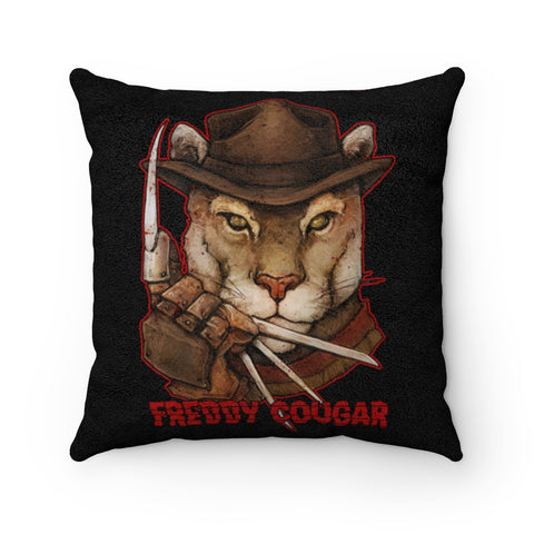 Cuddly Killers | Freddy Cougar | Faux Suede Square Pillow