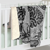 Apothic Ink | Anatomical Brain X-Ray Pattern | Sherpa Fleece Blanket
