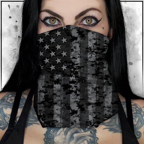 Patriot - American Flag Black and Grey Camo Neck Gaiter