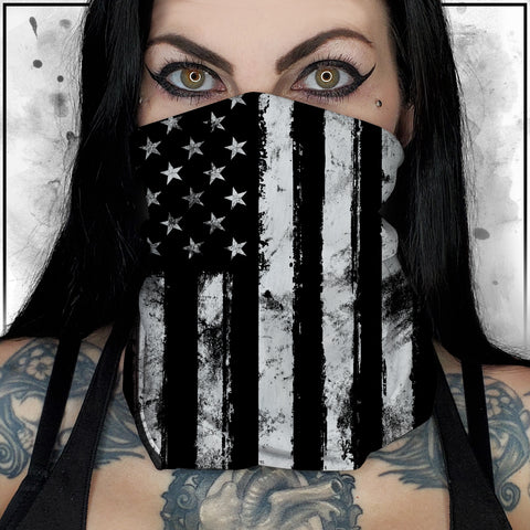 Patriot - American Flag Black and White Neck Gaiter