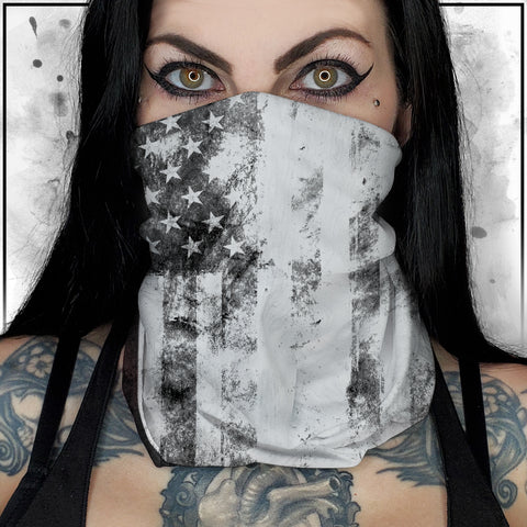 Patriot - American Flag Textured White Neck Gaiter