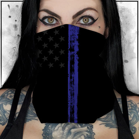 Patriot - American Flag Thin Blue Line II Neck Gaiter