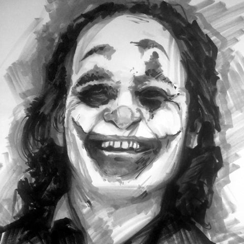 Joaquin Phoenix's Joker - Original Black and White Marker Sketch