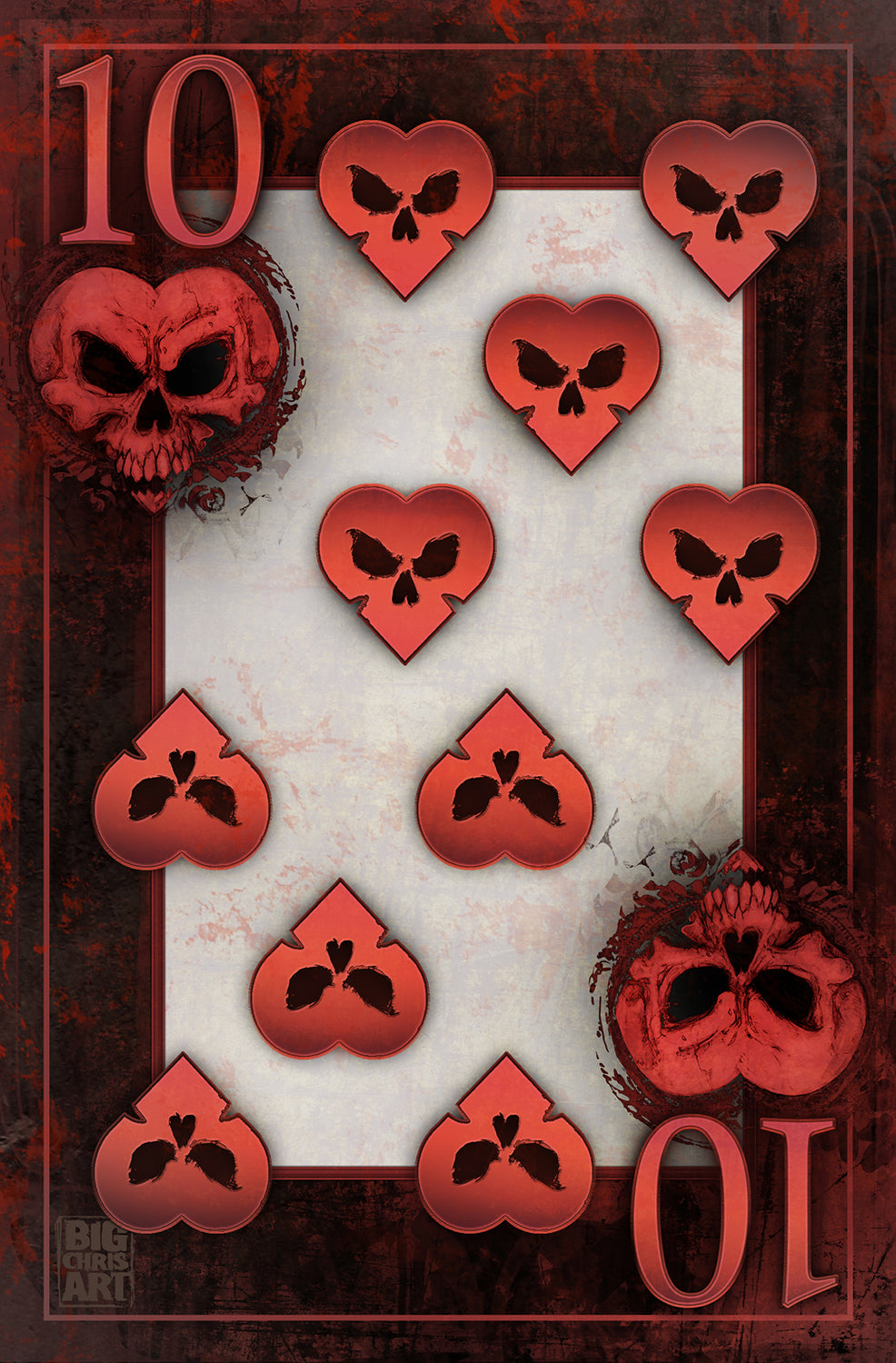 Bad Ace - 10 of Hearts - Canvas