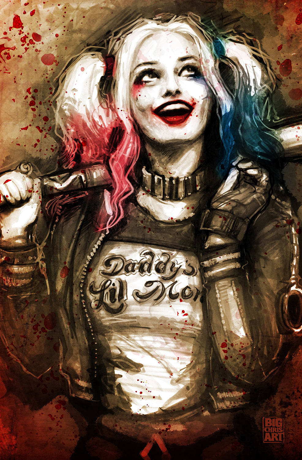 The Joker - Harley Quinn- 11x17 Print